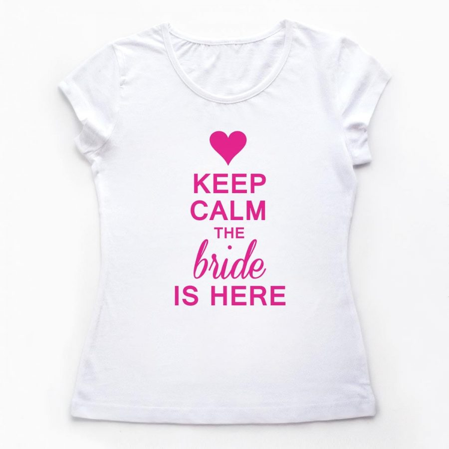 Tricouri petrecerea burlacitelor Keep calm - The Bride is here 1