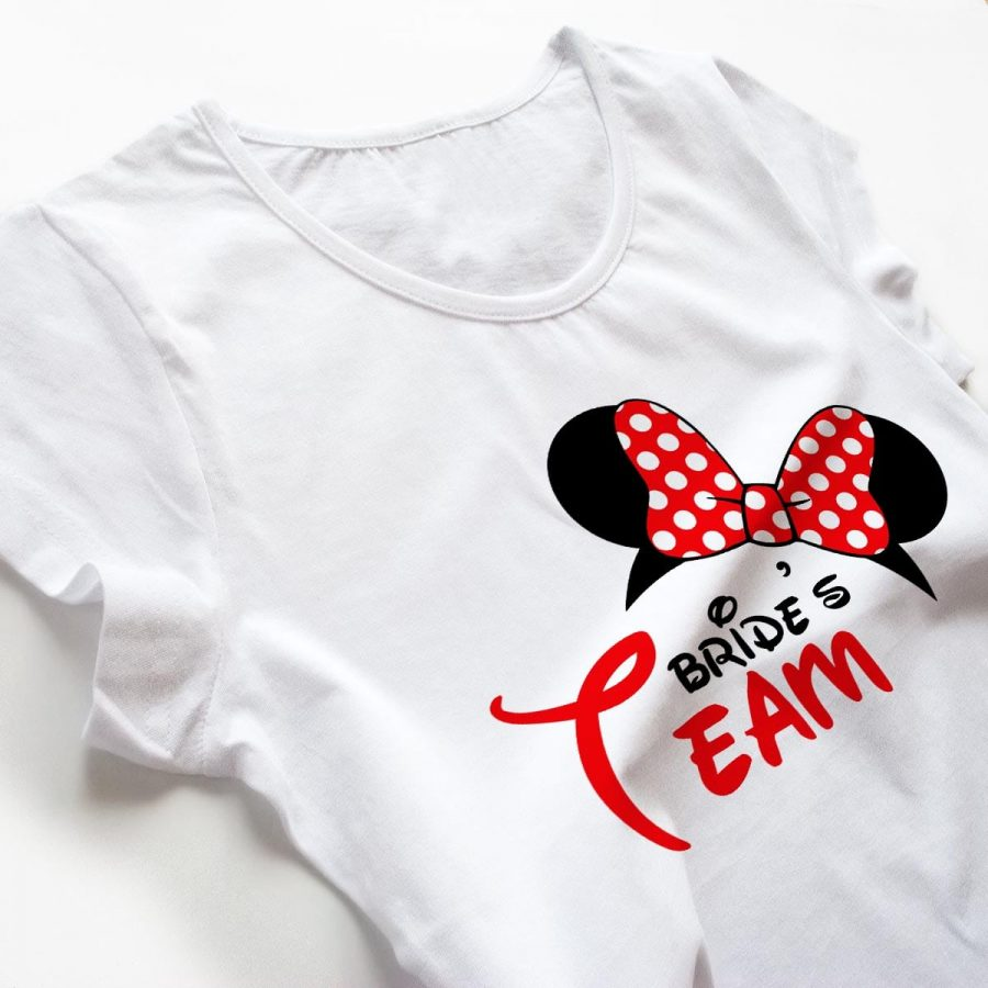 Tricouri petrecerea burlacitelor Minnie Bride Team 3a