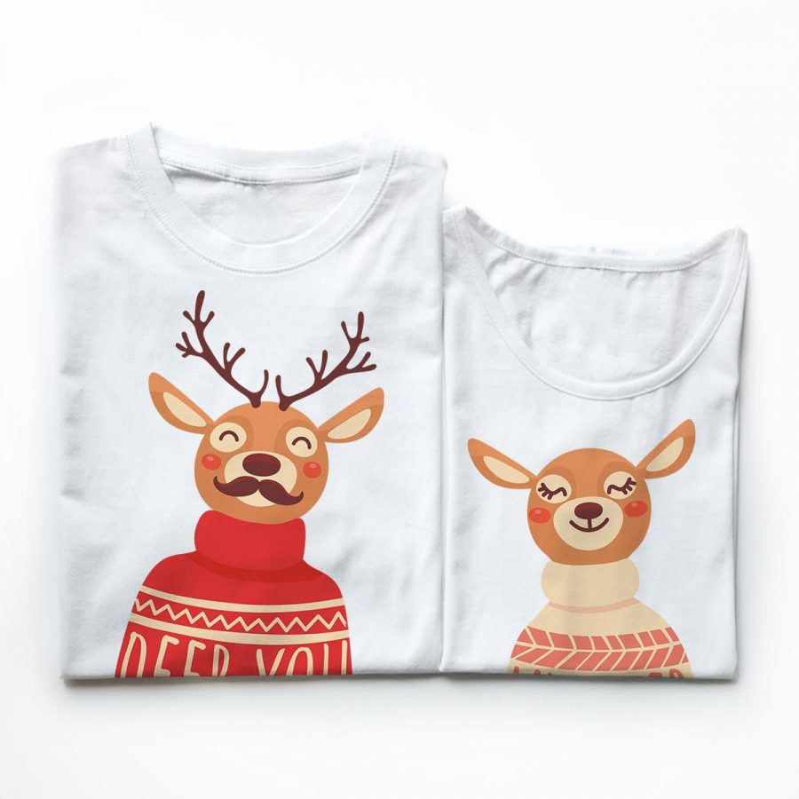 Tricouri cupluri - Deer Couple3