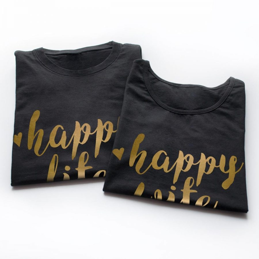 Tricouri cupluri - Happy life gold - 3