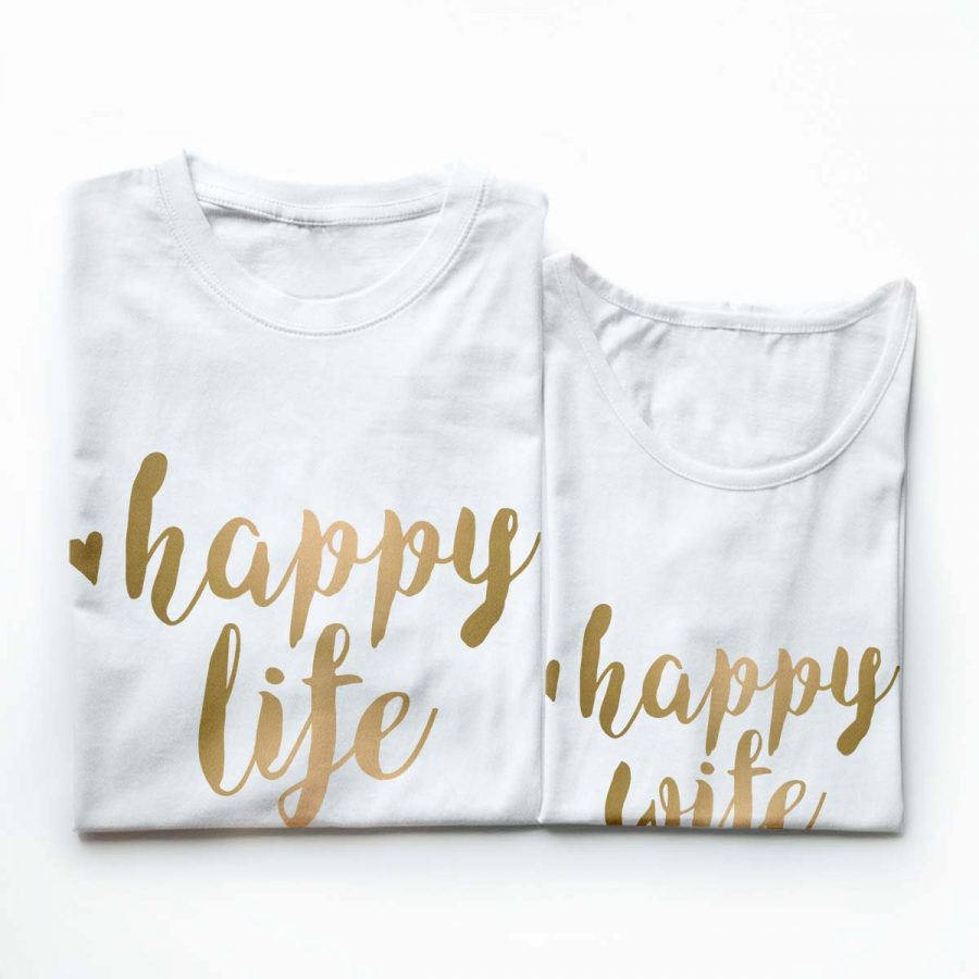 Tricouri cupluri - Happy life gold - 7