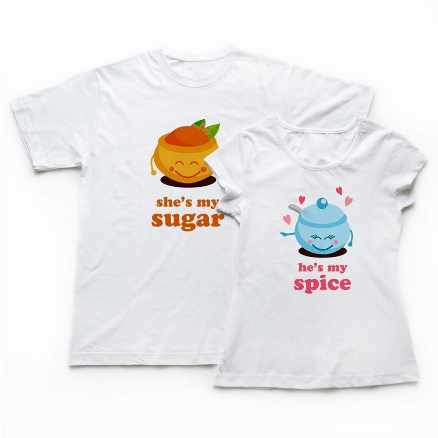 Tricouri cupluri - Sugar and Spice 2