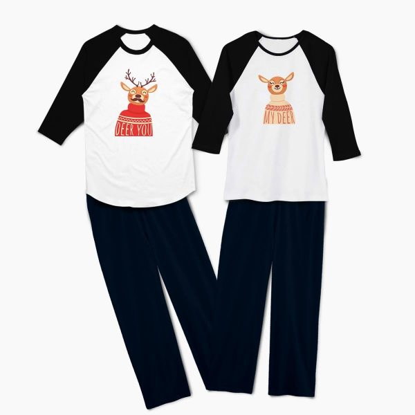Pijamale personalizate cupluri Deer Couple 1b