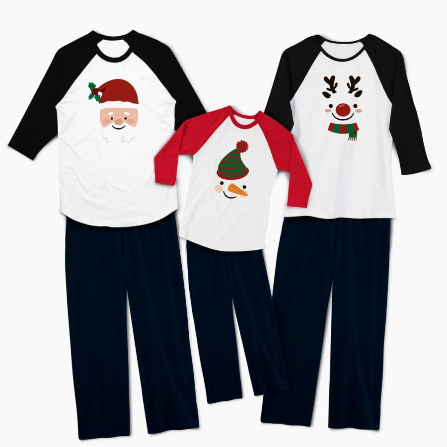 Pijamale personalizate familie Christmas Faces 1b