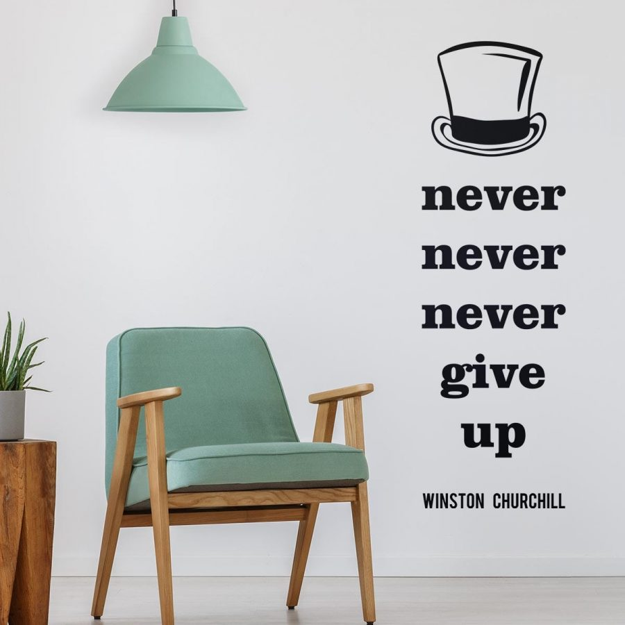Sticker perete Never give up 1