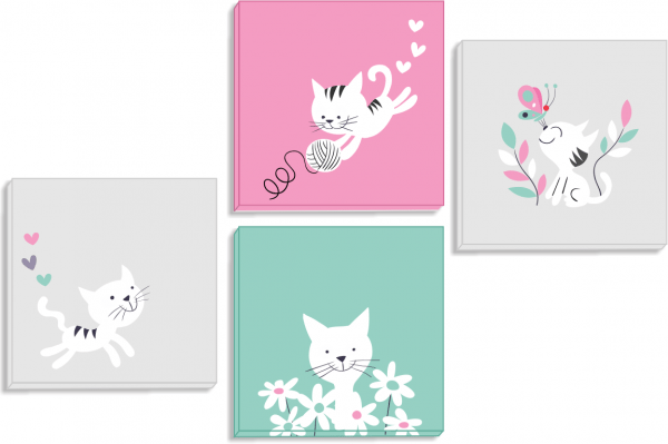 Set tablouri canvas White Kittens