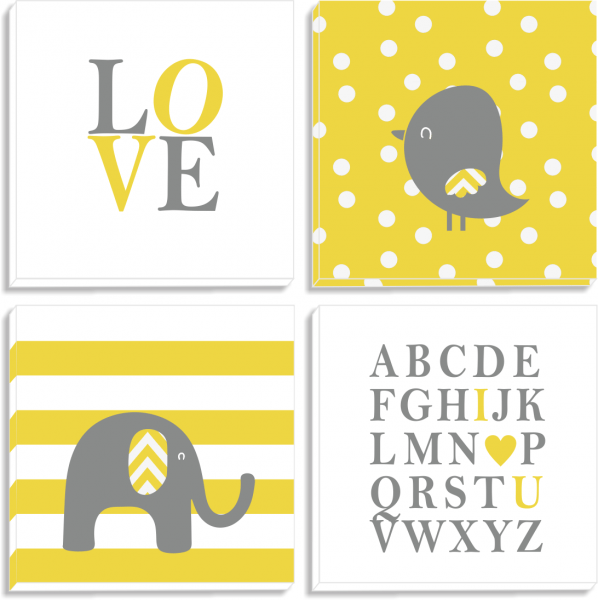 Set tablouri canvas Yellow Elephant