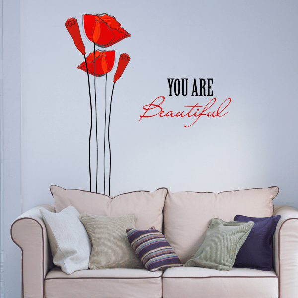 Sticker perete Beautiful poppies