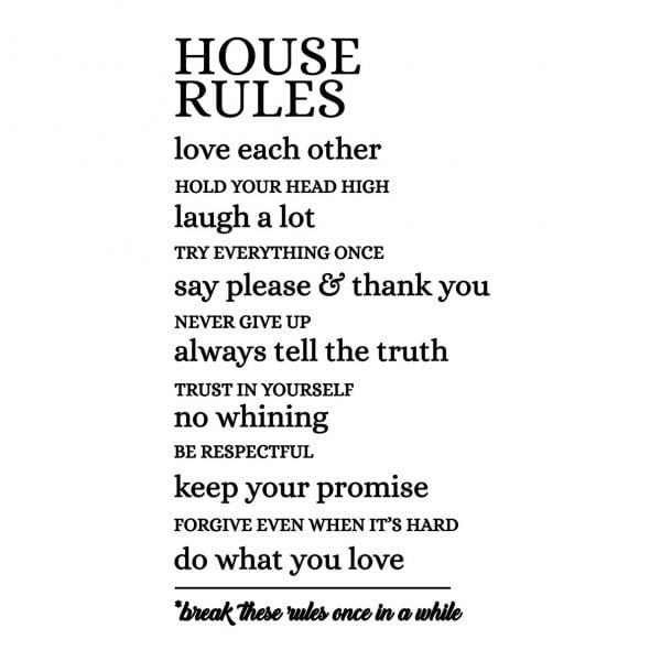 Sticker perete House Rules