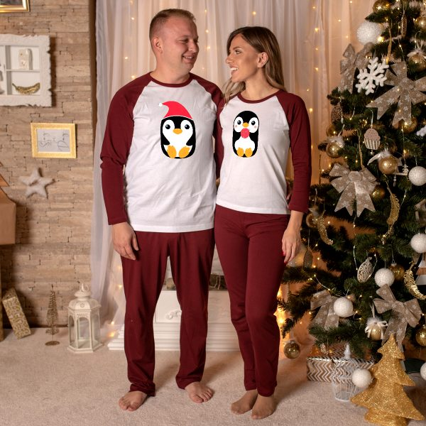 Pijamale Personalizate Cupluri Penguin Couple 13