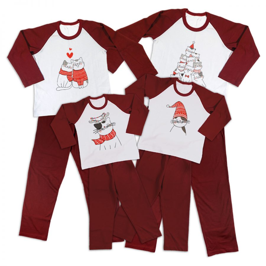 Pijamale Personalizate Familie A Cat Christmas