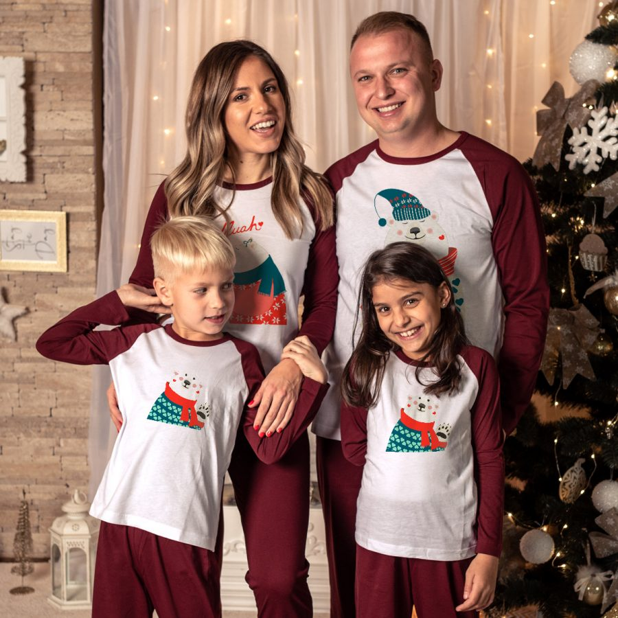 Pijamale Personalizate Familie Bear Family Kisses