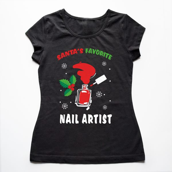 Tricouri nail art Santa's favorite