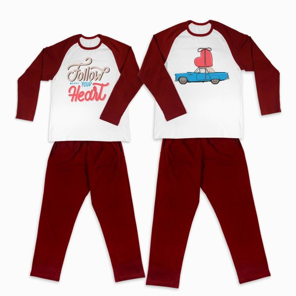 Pijamale personalizate cupluri Follow Your Heart 1