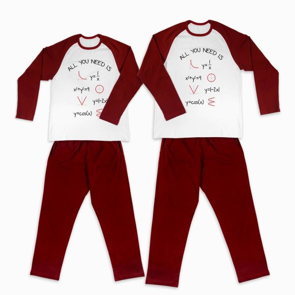 Pijamale personalizate cupluri Love Math 1