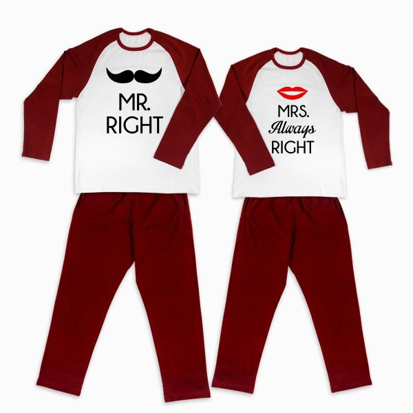 Pijamale personalizate cupluri Mr & Mrs Right 1