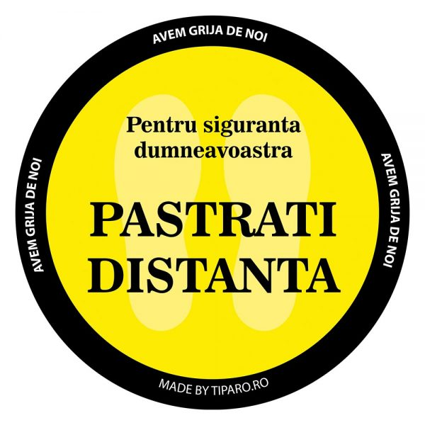 Stickere preventie delimitare podea rotund Negru 1