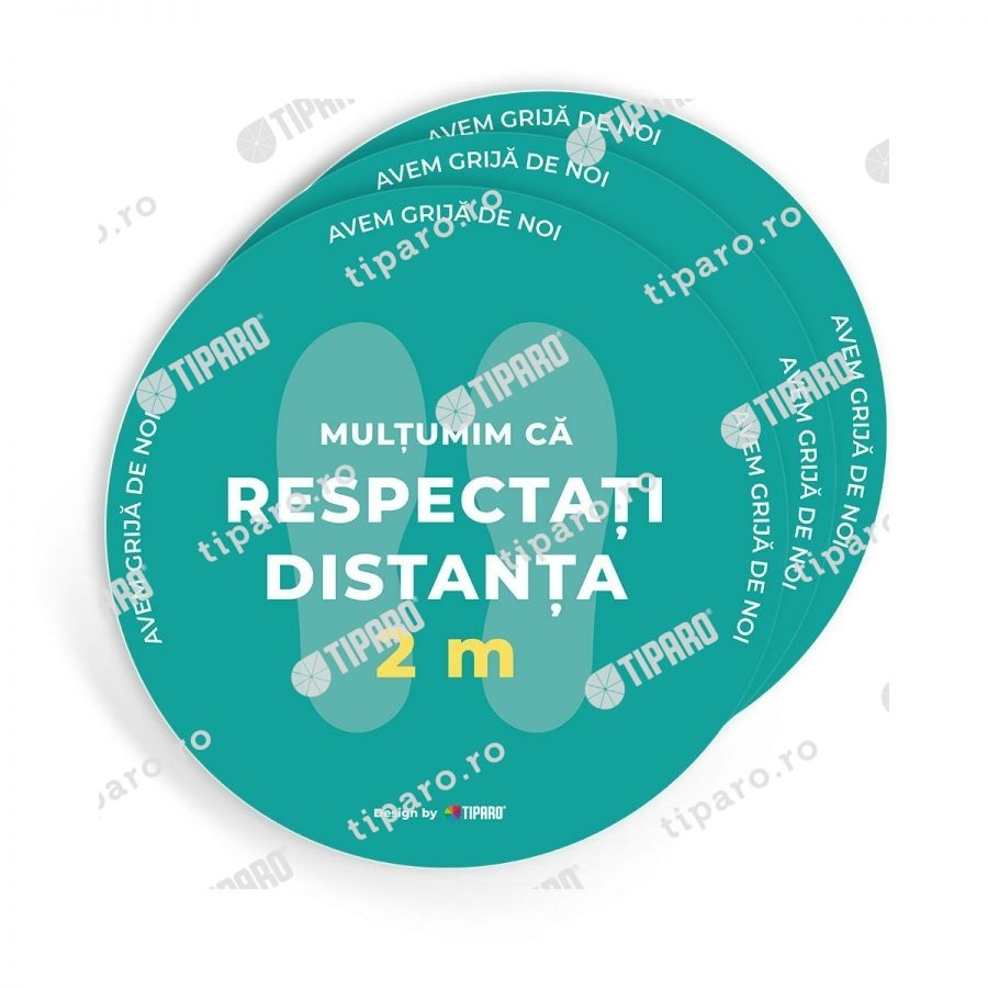 Stickere preventie salon Cerc distantare podea 3 bucati 1