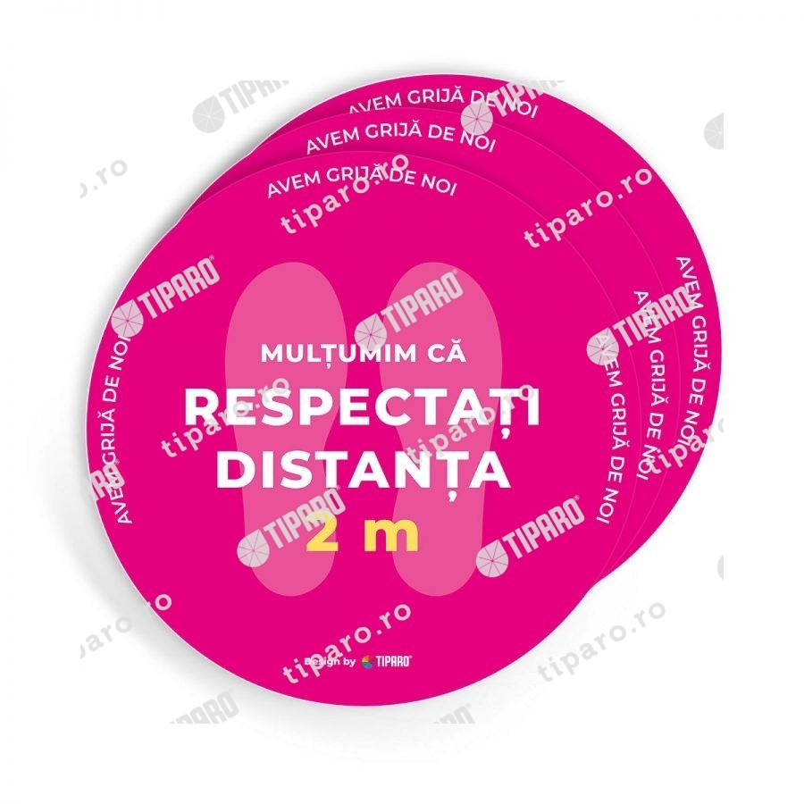 Stickere preventie salon Cerc distantare podea 3 bucati 2