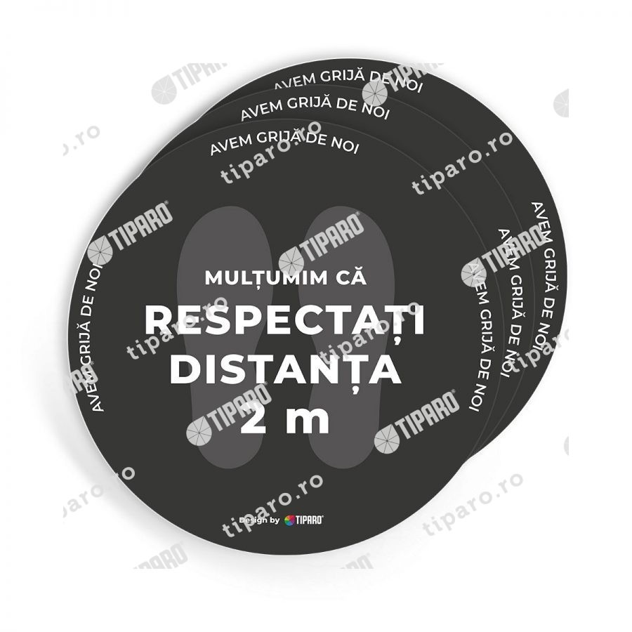 Stickere preventie salon Cerc distantare podea 3 bucati 4