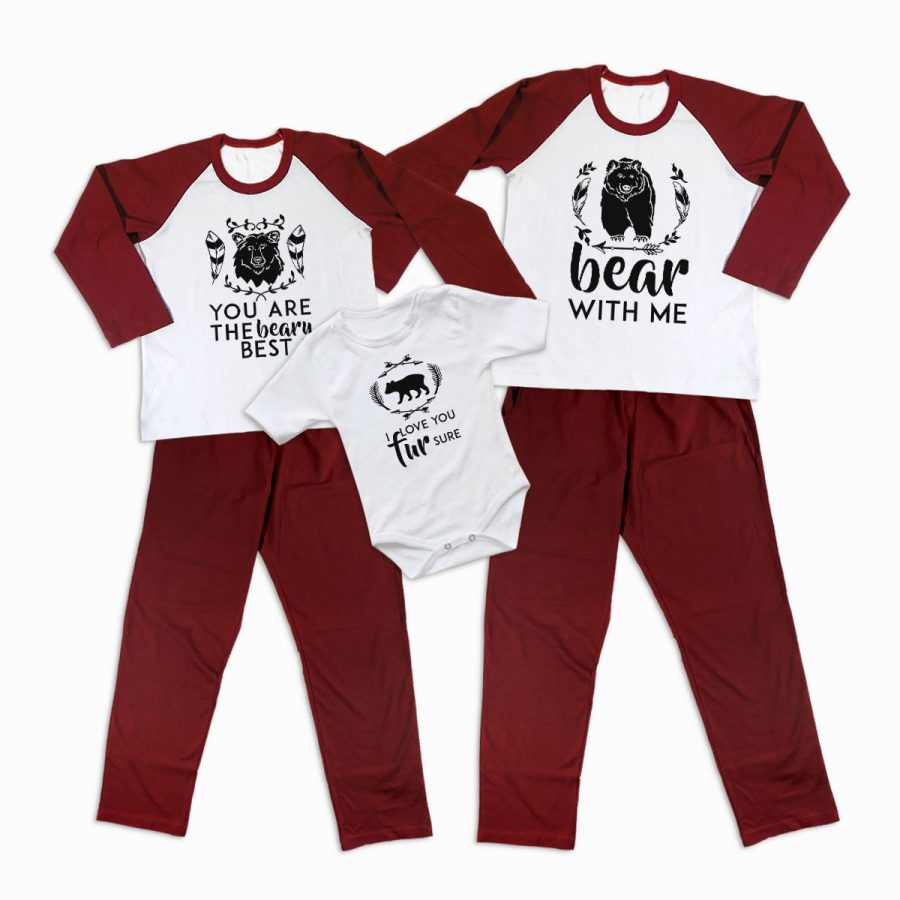 Pijamale Personalizate Familie Bear Love 2