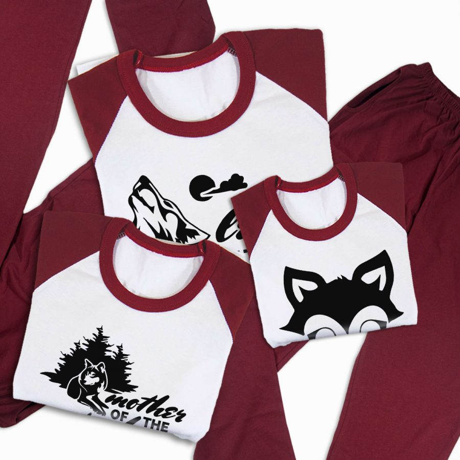 Pijamale Personalizate Familie Wolf Family 3