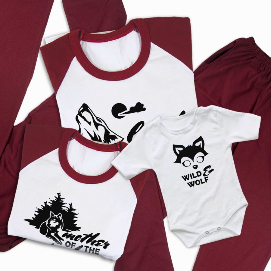 Pijamale Personalizate Familie Wolf Family 4